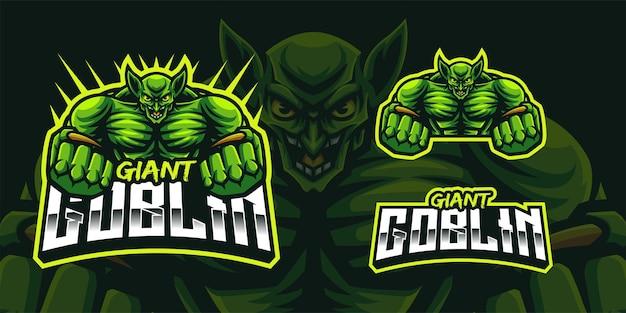 Logo mascotte goblin gigante per giochi twitch streamer giochi esports youtube facebook