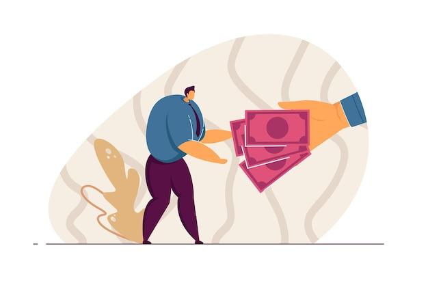 Mano gigante che dà contanti all'impiegato. personaggio maschile che prende denaro piatto illustrazione vettoriale. stipendio, reddito, finanze, ricchezza, concetto di profitto per banner, design di siti web o pagine web di destinazione