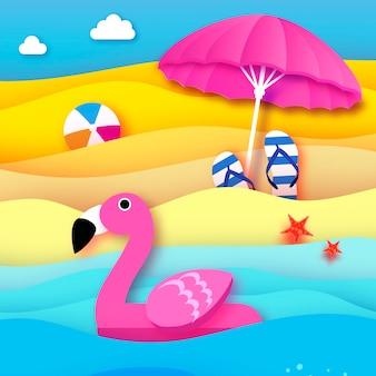 Fenicottero rosa gonfiabile gigante in stile carta tagliata ombrellone da spiaggia origami giocattolo galleggiante per piscina sulla spiaggia assolata con sabbia e acqua di mare cristallino beachball flipflop vacanze estive