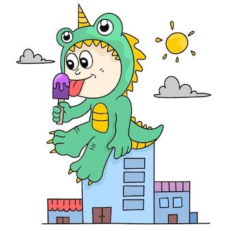 Il ragazzo gigante sta mangiando il gelato. emoticon adesivo illustrazione dei cartoni animati