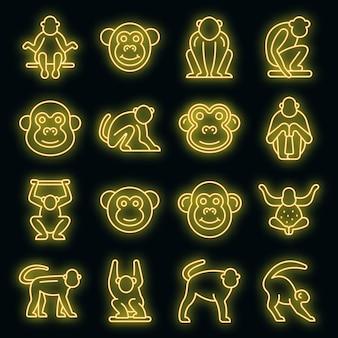 Set di icone di gibbone. contorno set di icone vettoriali gibbone colore neon su nero