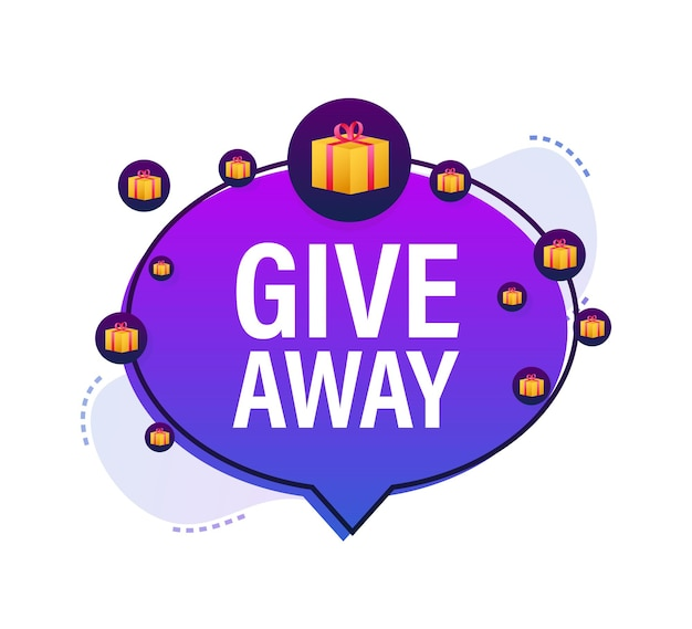 Modello di design dell'icona della confezione regalo giveaway design tipografico banner del vincitore della casella postale
