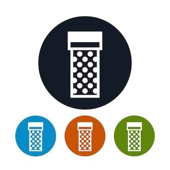 Icona della confezione regalo, i quattro tipi di confezione regalo colorata con icone rotonde, illustrazione vettoriale