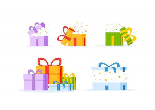 Contenitore di regalo isolato su fondo bianco.