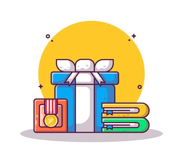 Confezione regalo e medaglia con scatola cartoon