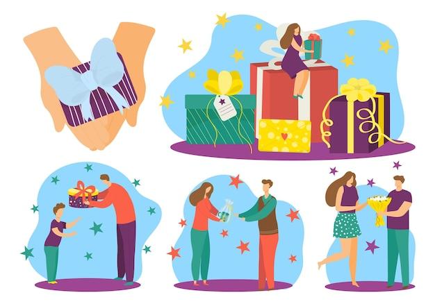 Confezione regalo per persone, set regalo di compleanno, illustrazione vettoriale. il personaggio piatto della donna dell'uomo fa una sorpresa, dando al mazzo una ragazza felice.
