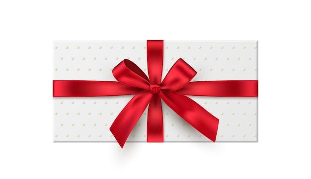Confezione regalo, presente illustrazione realistica con fiocco in nastro rosso isolato su sfondo bianco