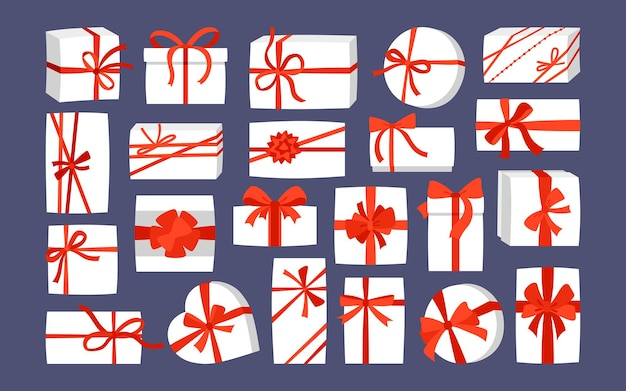 Confezione regalo set di nastri rossi natale o festa di compleanno