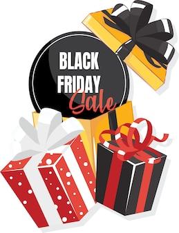 Confezione regalo con grande fiocco. modello di vendita venerdì nero.