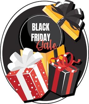 Confezione regalo con fiocco grande. modello di vendita del venerdì nero.