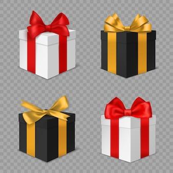 Confezione regalo con fiocco. regali di natale chiusi quadrati in bianco e nero con vista laterale di fiocchi rossi e dorati. vacanze di natale e compleanno sorprese vettore realistico 3d isolato su sfondo trasparente set