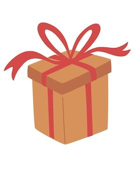 Confezione regalo con fiocco. confezione regalo rossa per vacanze, natale e capodanno. imballaggio artigianale ecologico