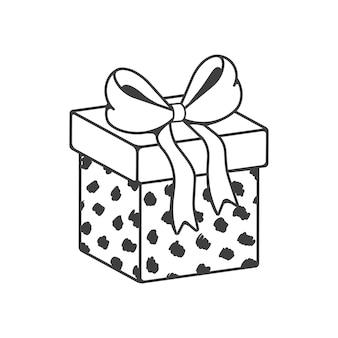 Confezione regalo con fiocco. carta avvolta regalo di festa. arte di linea vettoriale isolato su sfondo bianco.