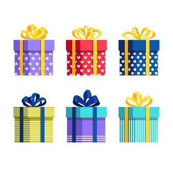Confezione regalo con fiocco, nastro isolato su sfondo bianco. pacchetto rosso isometrico 3d, sorpresa con i coriandoli. vendita, shopping. vacanze, natale, concetto di compleanno. disegno del fumetto
