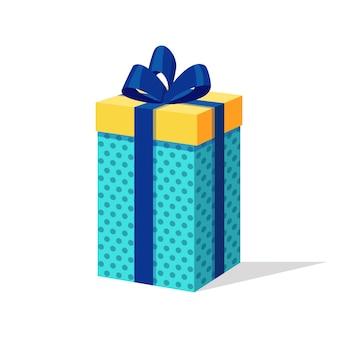 Confezione regalo con fiocco, nastro. pacchetto rosso isometrico.