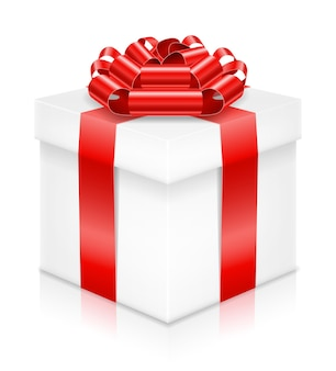 Confezione regalo con fiocco e nastro bianco