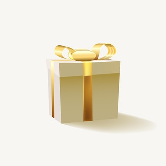 Confezione regalo con nastro d'oro isolato su sfondo bianco.