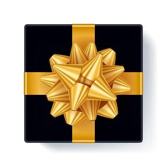 Confezione regalo con illustrazione di vista dall'alto dell'arco del nastro dorato bellissimo modello realistico di scatola presente per il compleanno, natale, capodanno.