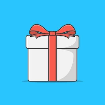Confezione regalo con nastro rosso icona illustrazione. regali regalo visualizza in alto. icona piana di confezione regalo