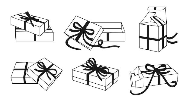 Confezione regalo con fiocchi di nastro linea nera insieme raccolta di modelli di scatole di contorno vari nastro contenitore