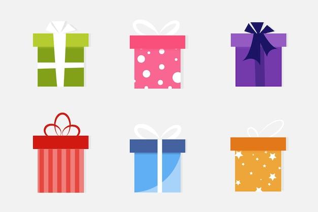 Confezione regalo con nastro design piatto banner grafica o modello di layout del sito web rosso rosa blu