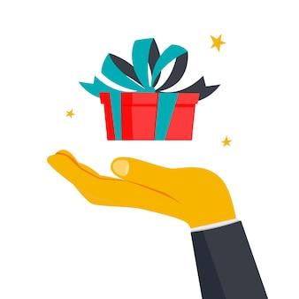 Confezione regalo con sorpresa all'interno come metafora del bonus. concetto di pacchetto aperto. idea di promozione. illustrazione