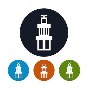 Icona di scatole regalo, i quattro tipi di scatole regalo colorate con icone rotonde, illustrazione vettoriale