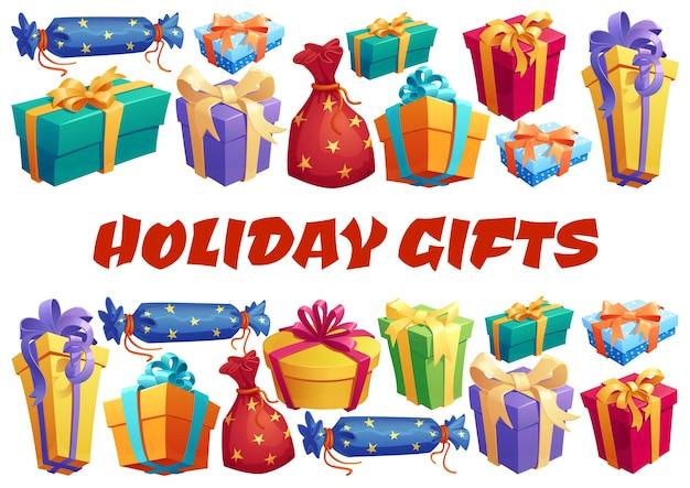 Confezioni regalo e poster di regali. cartone animato disegno vettoriale con scatole regalo rotonde, quadrate e a forma di caramelle avvolte con fiocchi luminosi su sfondo bianco. vacanze, evento festivo, tema di celebrazione dell'anniversario