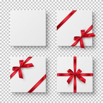 Scatole regalo, presenta contenitori 3d realistici con nastri rossi e fiocchi isolati