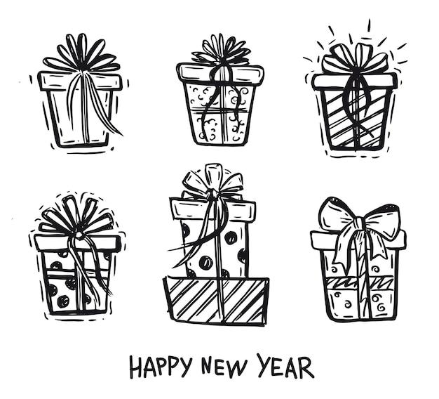 Confezioni regalo con illustrazioni disegnate a mano
