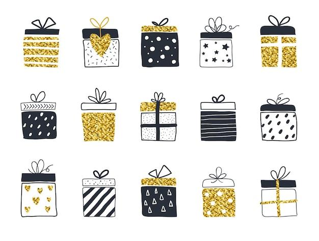 Scatole regalo set disegnati a mano in stile scandinavo illustrazione vettoriale di colore oro e nero