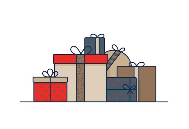 Scatole regalo avvolte in carta da regalo e decorate con nastri e fiocchi