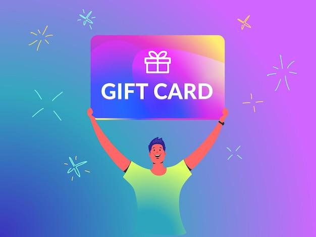Il concetto di carta regalo illustrazione vettoriale del giovane tiene sopra la sua testa una grande carta regalo brillante come un vincitore di un'offerta di marketing. persone brillanti e felici che usano carte regalo su sfondo sfumato