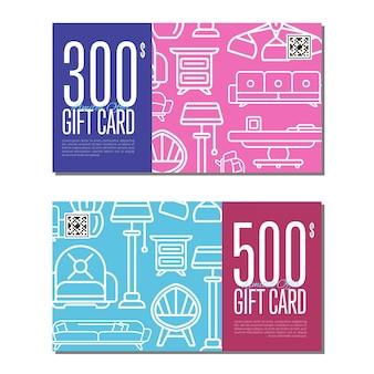 Set lineare di carte regalo per mobili da soggiorno