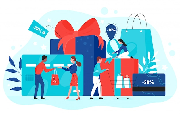 Illustrazione di concetto di promozione della carta regalo. la gente del compratore del fumetto compra i regali con il nastro rosso in negozio, usando il buono regalo dello shopping, il buono sconto, il certificato di fedeltà promozionale su bianco