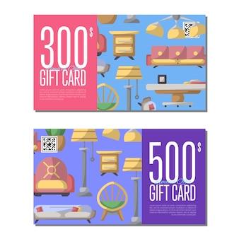 Set di carte regalo per mobili da soggiorno Vettore Premium