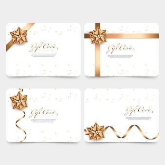 Modello di carta regalo con nastro dorato