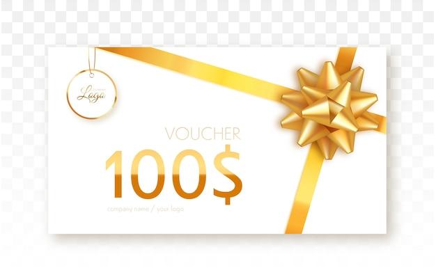Carta regalo con nastro d'oro e fiocco