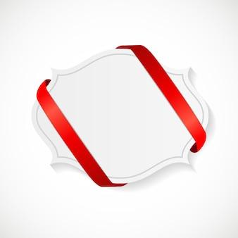 Carta regalo con nastro rosso e fiocco. illustrazione vettoriale eps10 Vettore Premium