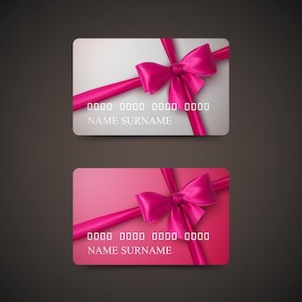 Carte regalo con fiocco rosa e nastro