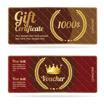 Buono regalo buono. modello di coupon con corona e corona.