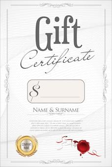 Buono regalo con sigillo d'oro e bordo di design