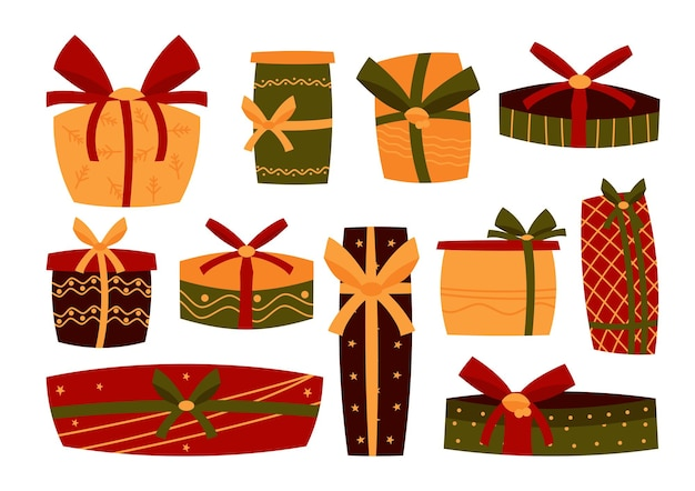 Set di scatole retrò colorate regalo. regalo di festa con nastro in stile cartone animato. sorpresa di natale
