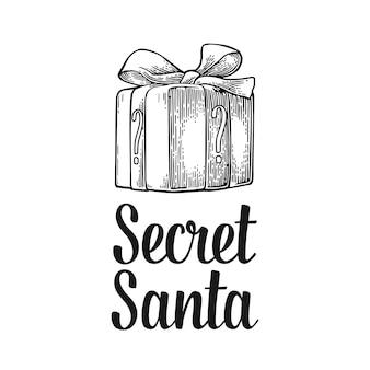 Confezione regalo verde scritta secret santa per buon natale e felice anno nuovo incisione vettoriale