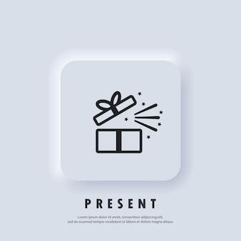 Icona regalo. icona della confezione regalo. presente per anniversario, compleanno, natale, capodanno. vettore. pulsante web dell'interfaccia utente bianco neumorphic ui ux. neumorfismo