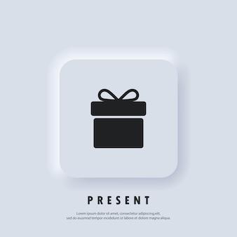 Icona regalo. icona della confezione regalo. presente per anniversario, compleanno, natale, capodanno. vettore. pulsante web dell'interfaccia utente di neumorphic ui ux bianco. neumorfismo