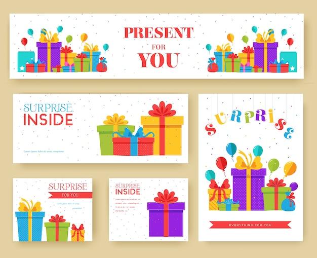Set di schede informative regalo. modello a sorpresa di flyear, riviste, poster, copertine di libri, banner.
