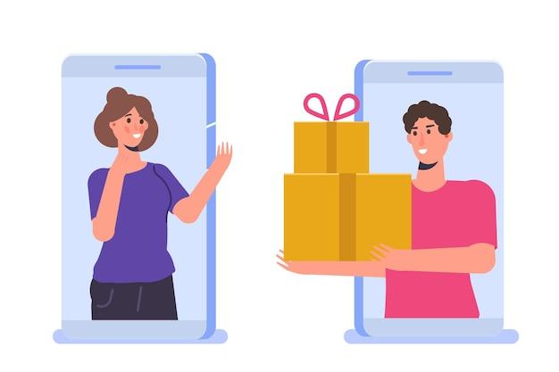 Ordine regalo online, shopping online, concetto di commercio elettronico. la gente compra regali. illustrazione vettoriale