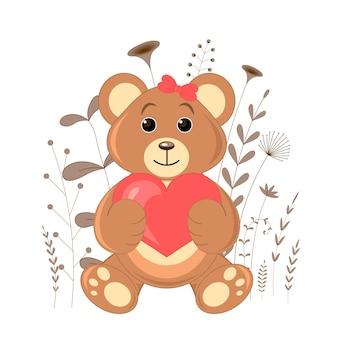 Cartolina regalo con orso di animali dei cartoni animati. sfondo floreale decorativo con rami e piante.