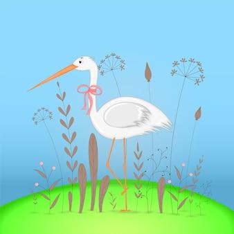 Cartolina regalo con elefante di animali del fumetto. sfondo floreale decorativo con rami e piante.